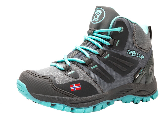 TROLLKIDS Rondane Hiker Botas Corte Medio Niños, gris/Turquesa